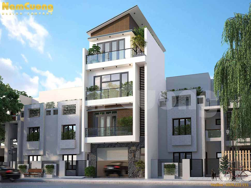 thiết kế nhà lô phố hiện đại 4 tầng
