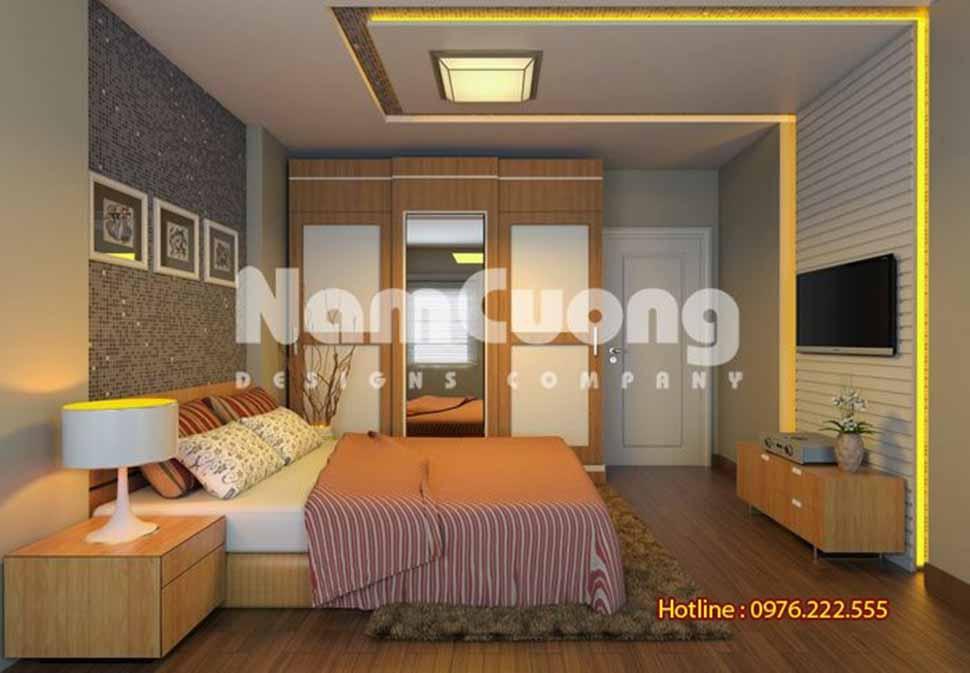 phòng ngủ màu nâu trầm