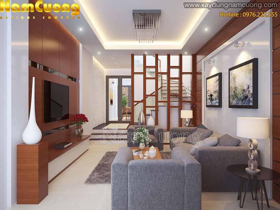 phòng khách nhà phố 4 tầng
