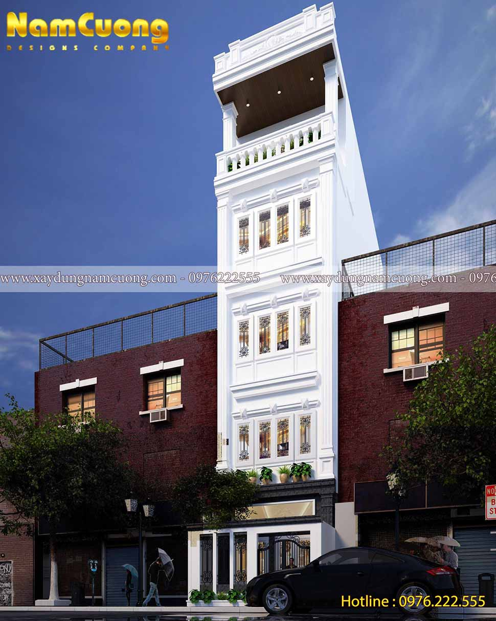 kiến trúc ngôi nhà ống 5 tầng