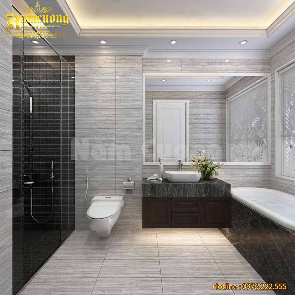 Mẫu phòng tắm kết hợp giữa phòng vệ sinh và phòng tắm rất sang trọng, tiện nghi