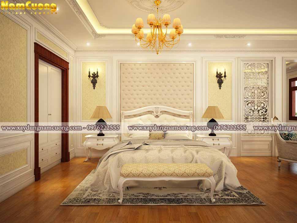 giường ngủ sang trọng trong phòng