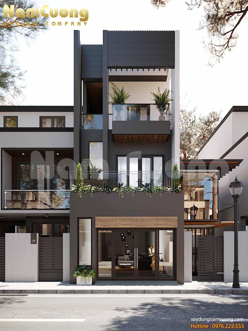 nhà phố 3 tầng đẹp phong cách hiện đại