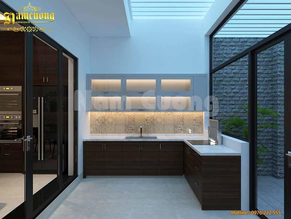 khu bếp nấu nhà phố 3 tầng mái bằng