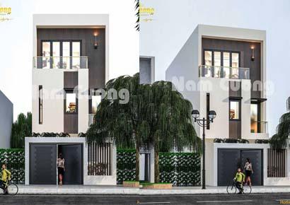 mẫu thiết kế nhà phố 3 tầng mái bằng