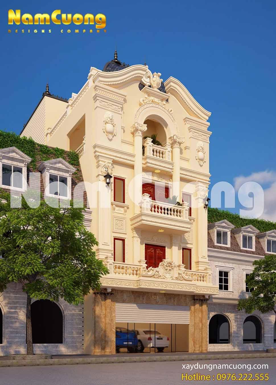 nhà phố cổ điển 5 tầng