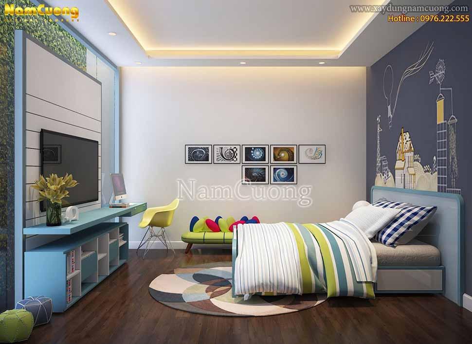 Phòng ngủ thiết kế đơn giản, chú trọng sự tiện dụng, lối trang trí nội thất nhấn nhá hướng tới vẻ đẹp tổng thể của căn phòng