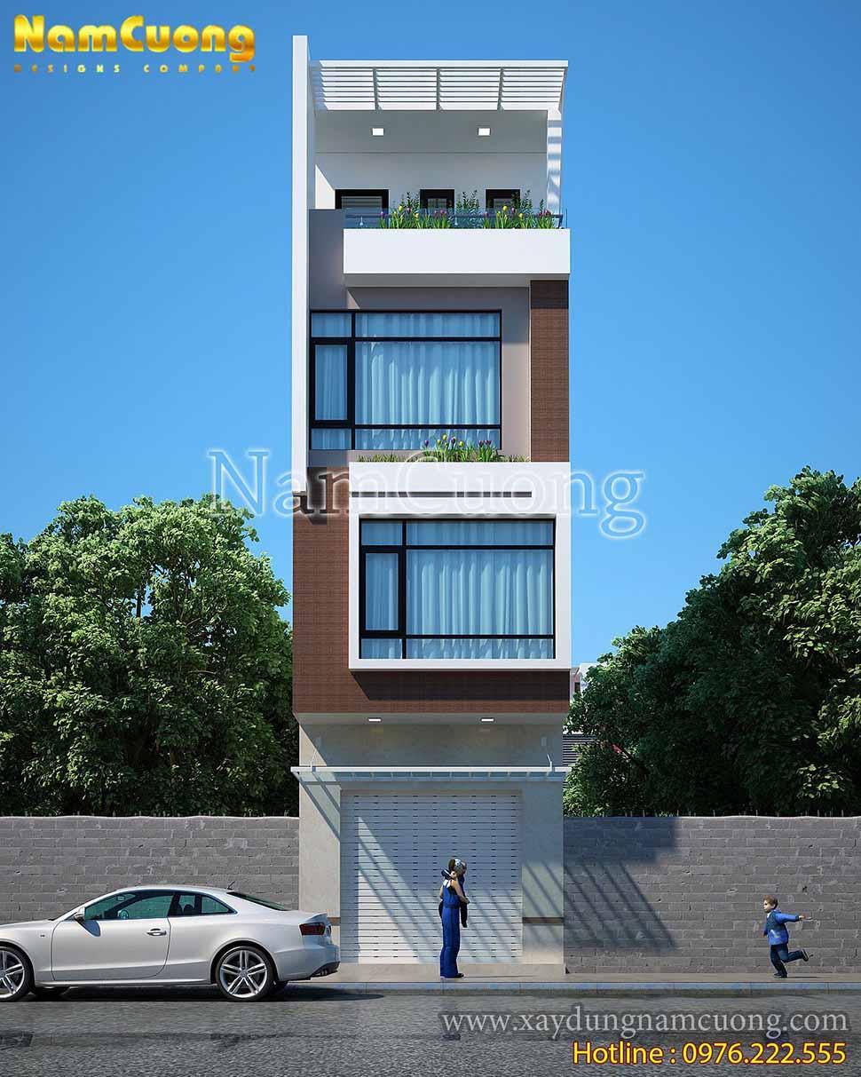 Mặt chính diện căn nhà hiện đại với những hình khối vuông vức, đơn giản mà vẫn sang trọng