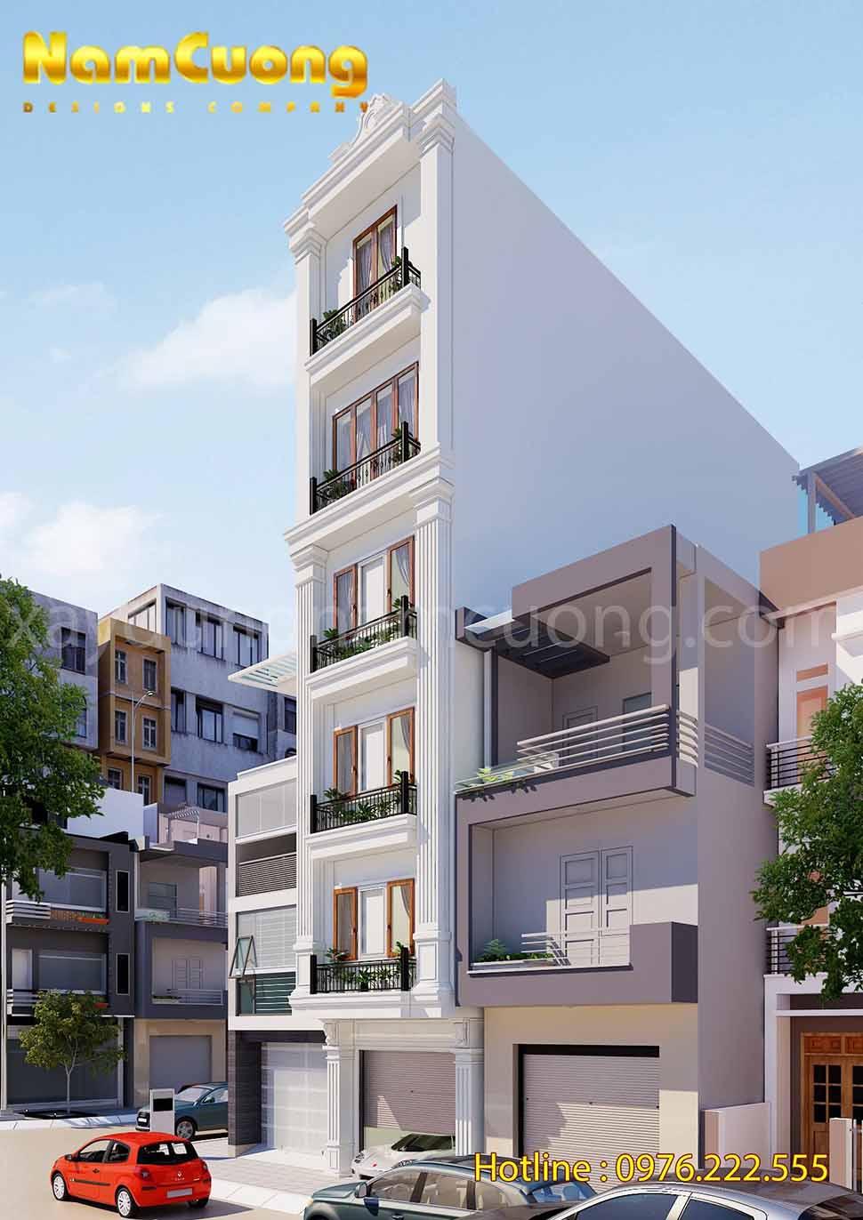 thiết kế nhà phố tân cổ điển 6 tầng