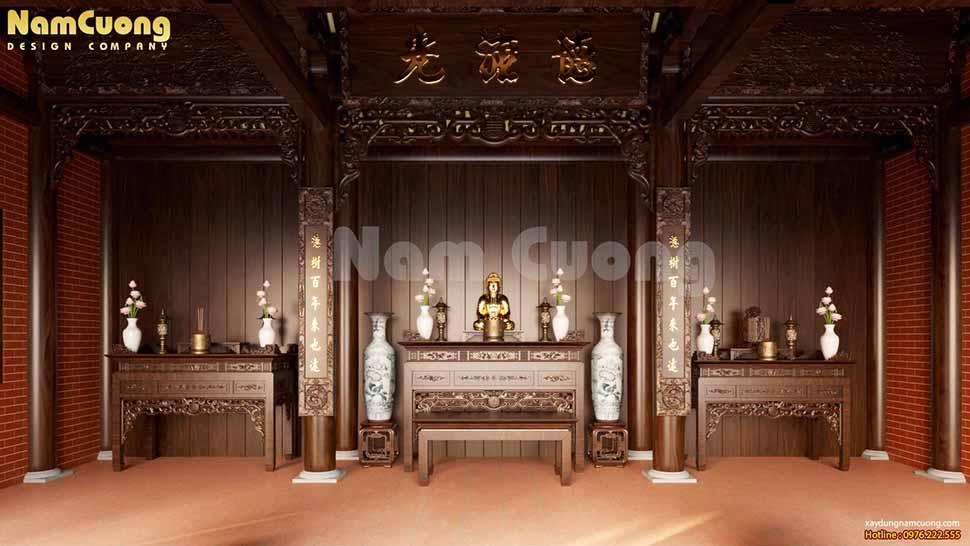nội thất nhà thờ họ 3 gian