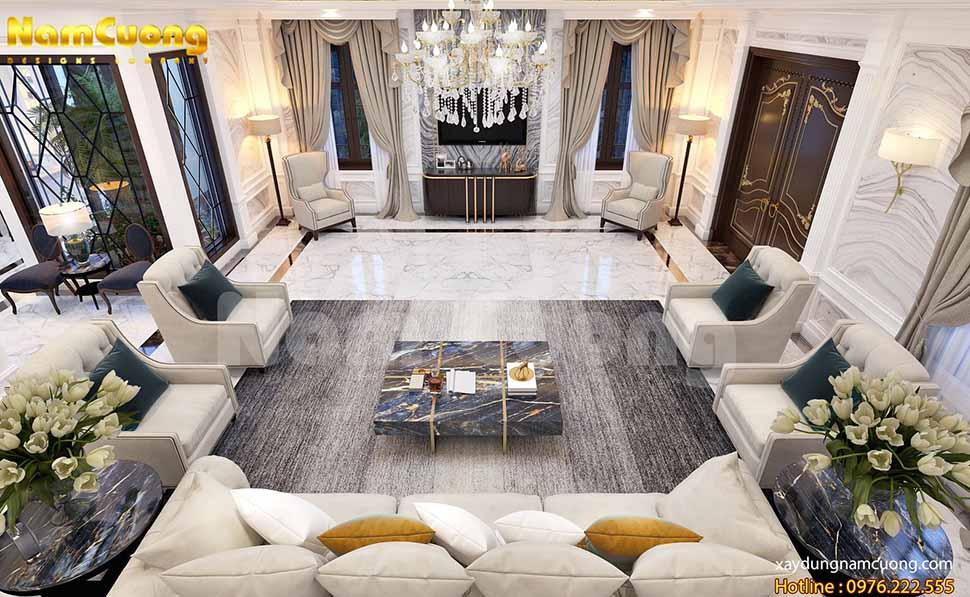 Phòng khách có diện tích rộng lớn