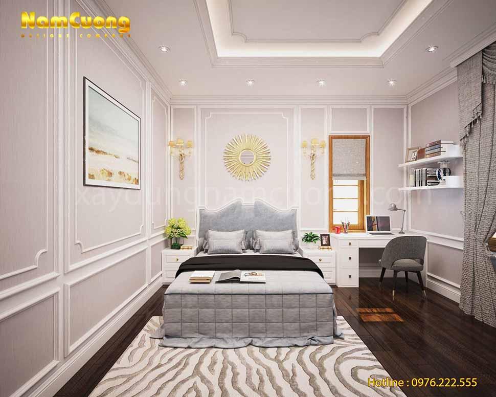 phòng ngủ tân cổ điển màu trắng