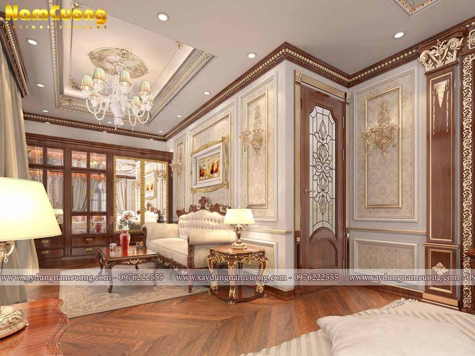 không gian phòng ngủ sang trọng cổ điển