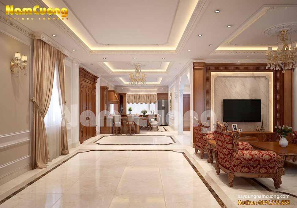 sảnh thang nối liền phòng khách và phòng bếp ăn