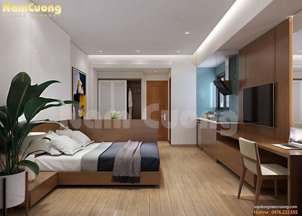 Căn hộ cho thuê tại tầng 4 với tone màu trầm nhẹ nhàng. Khu bếp và giường ngủ được tách biệt bởi tấm vách ngăn gỗ công nghiệp