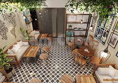 nội thất cafe mộc