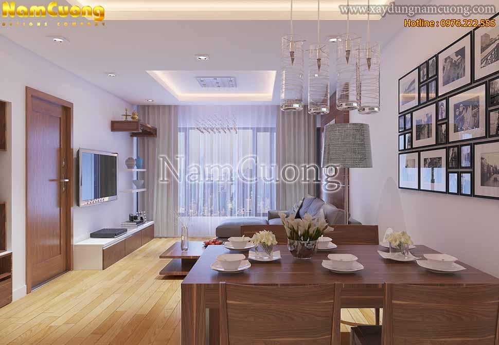 màu gỗ ấn tượng của căn hộ chung cư