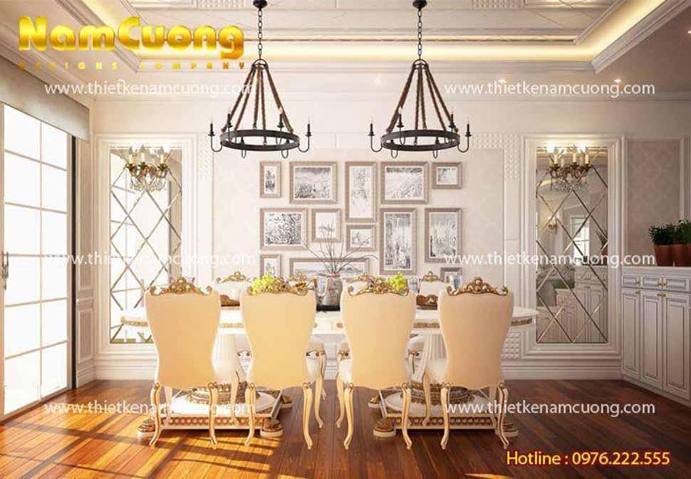Bàn ăn kiểu dáng ấn tượng, đèn nến trang trí độc đáo và tranh treo tường đem lại vẻ đẹp sinh động