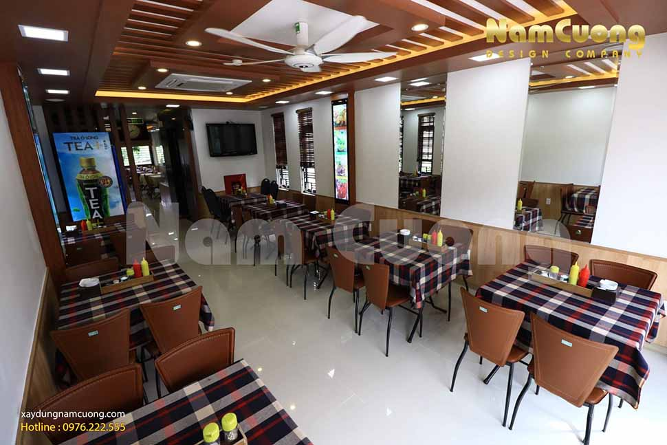 Tầng 2 của công trình nhà hàng cơm văn phòng phong cách hiện đại