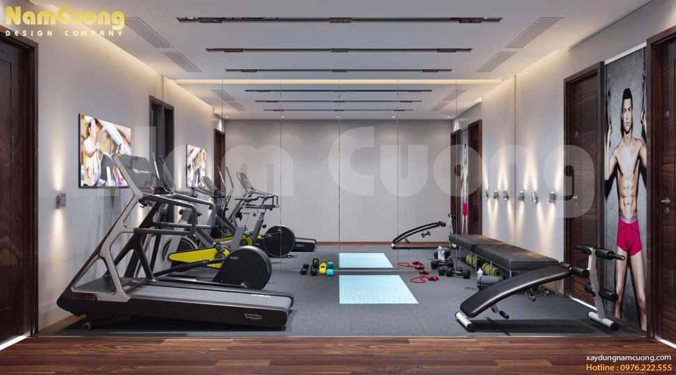 phòng tập thể thao nhà ống 3 tầng