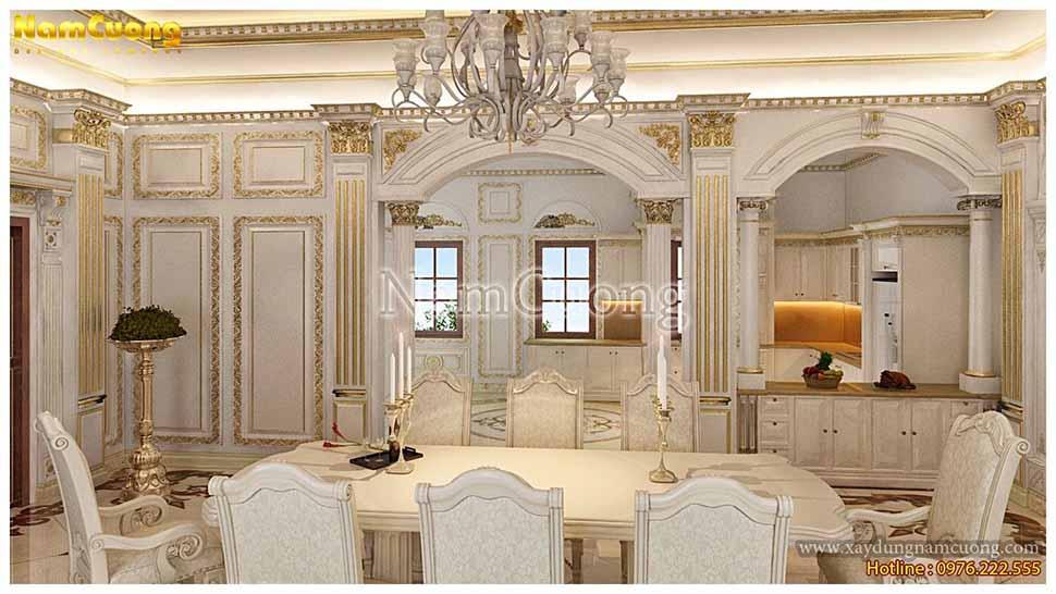 nội thất phòng ăn màu trắng