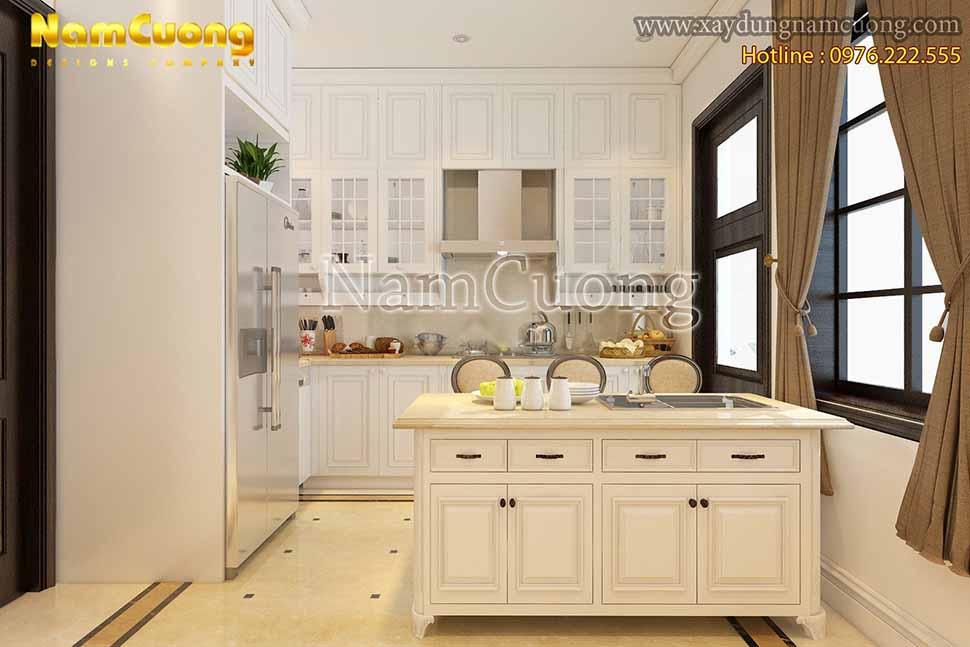 Màu trắng được xem là màu chủ đạo của nội thất phòng bếp biệt thự