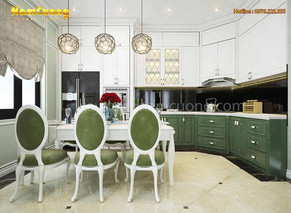 nội thất phòng bếp ăn trong ngôi biệt thự