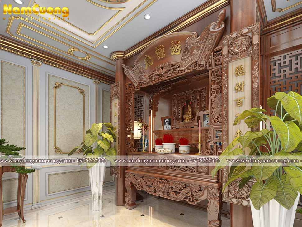 phòng thờ trong ngôi biệt thự phong cách pháp
