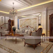 nội thất phòng khách có cầu thang