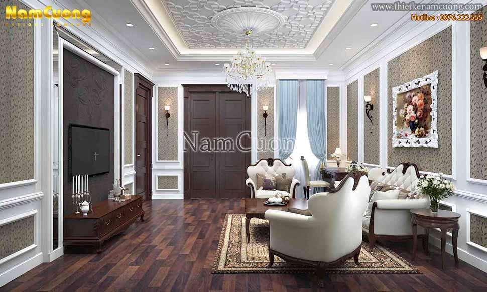 nội thất phòng khách gỗ óc chó đẹp