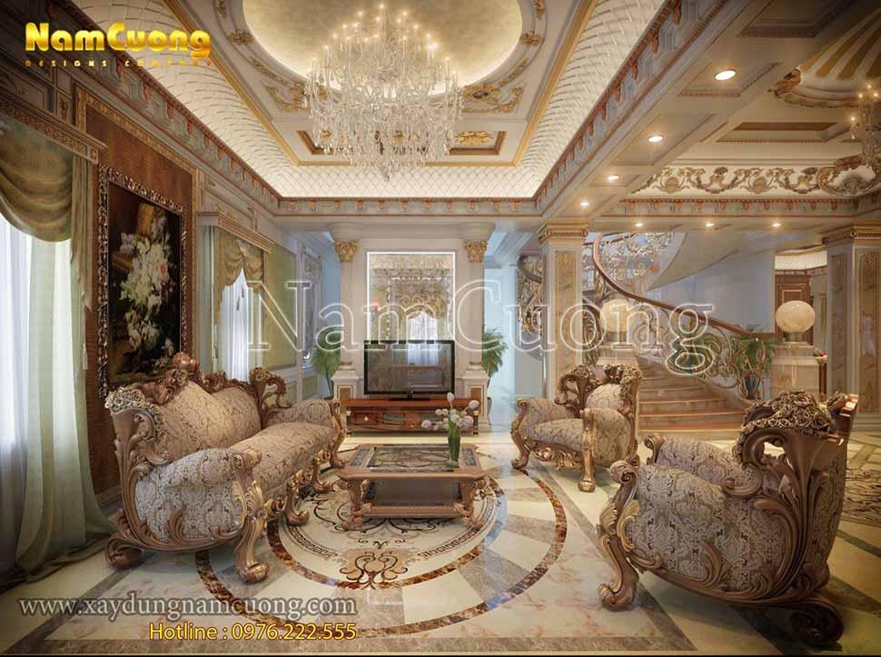 nội thất phòng khách kết hợp bếp