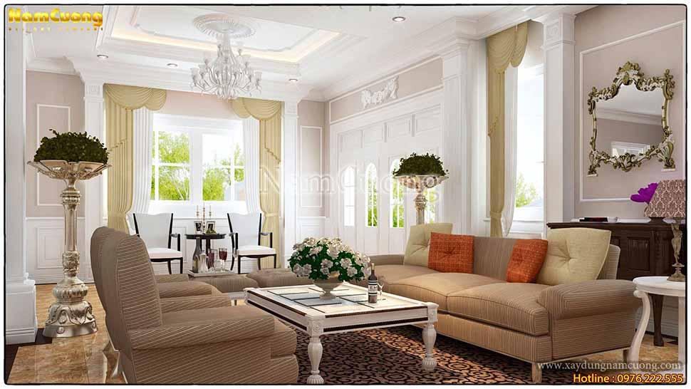 không gian phòng khách phong cách tân cổ điển