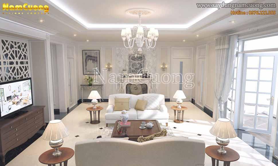 nội thất phòng khách tân cổ điển hàn quốc