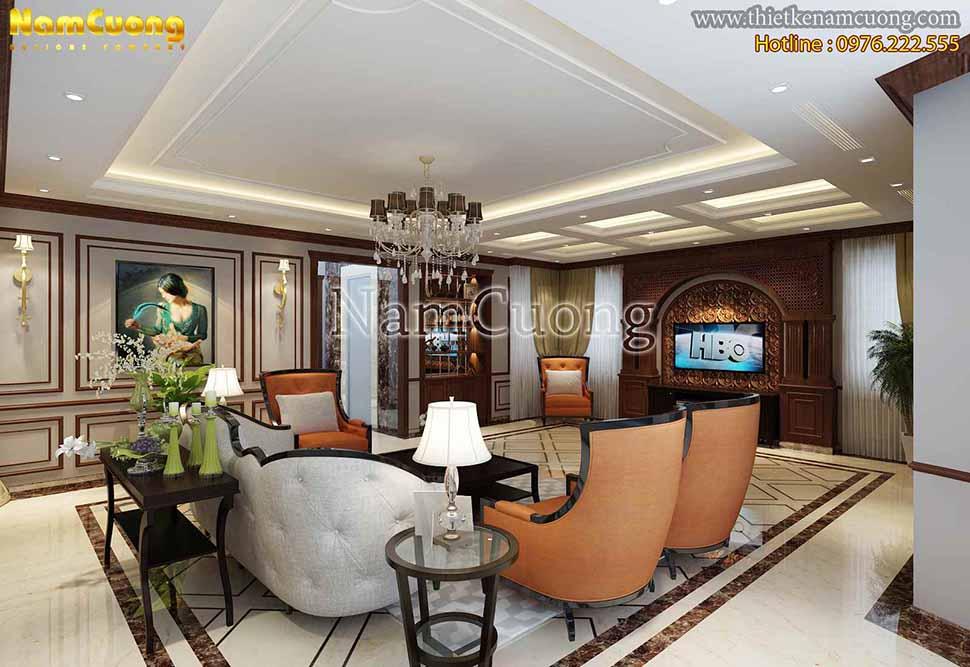 phòng khách trong biệt thự mái thái