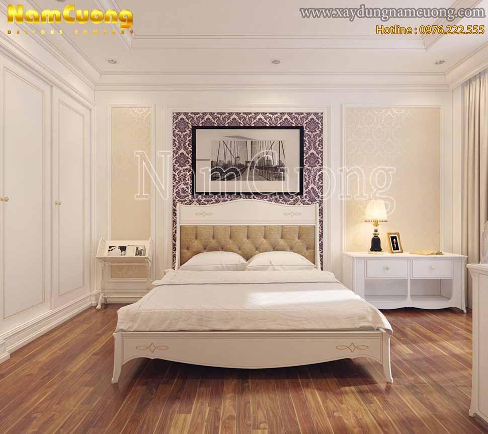 không gian phòng ngủ màu trắng