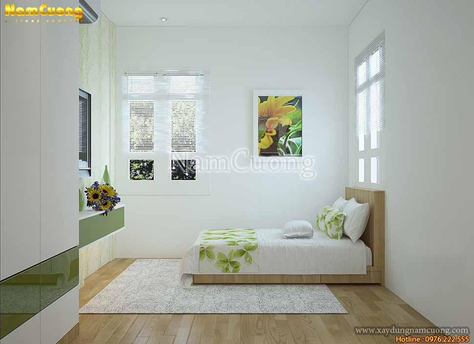 phòng ngủ màu xanh hiện đại