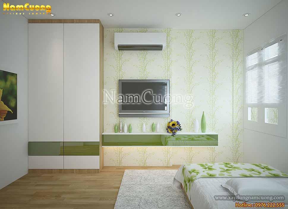 kệ tivi phòng ngủ màu xanh