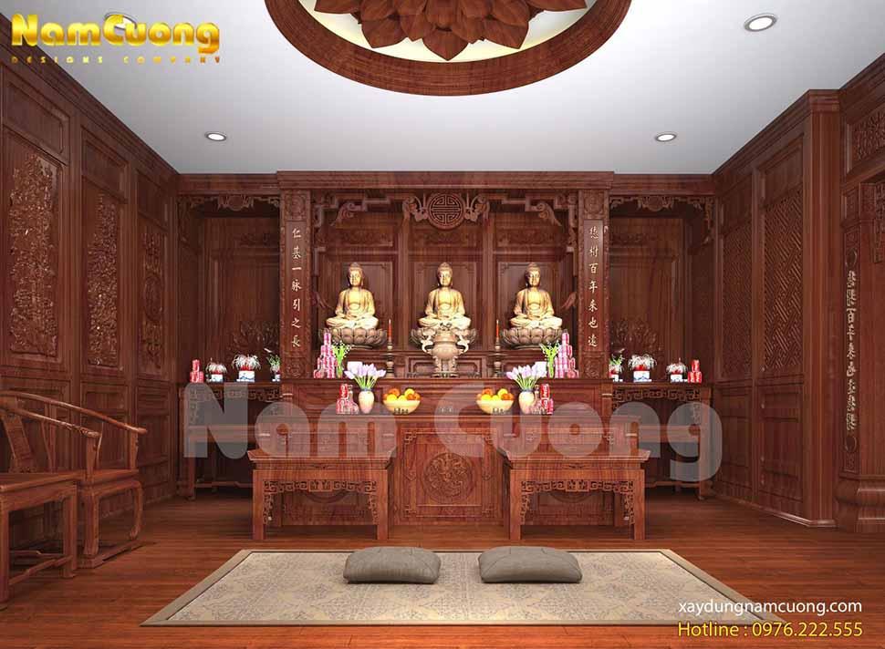 mẫu thiết kế nội thất phòng thờ nhà cấp 4