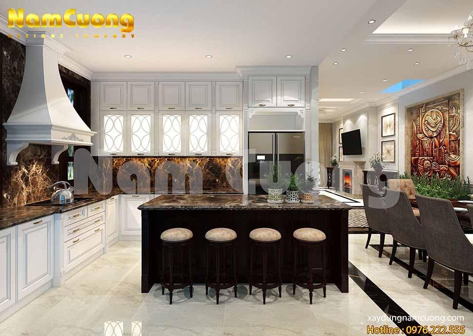 phòng bếp nội thất tân cổ điển gỗ công nghiệp