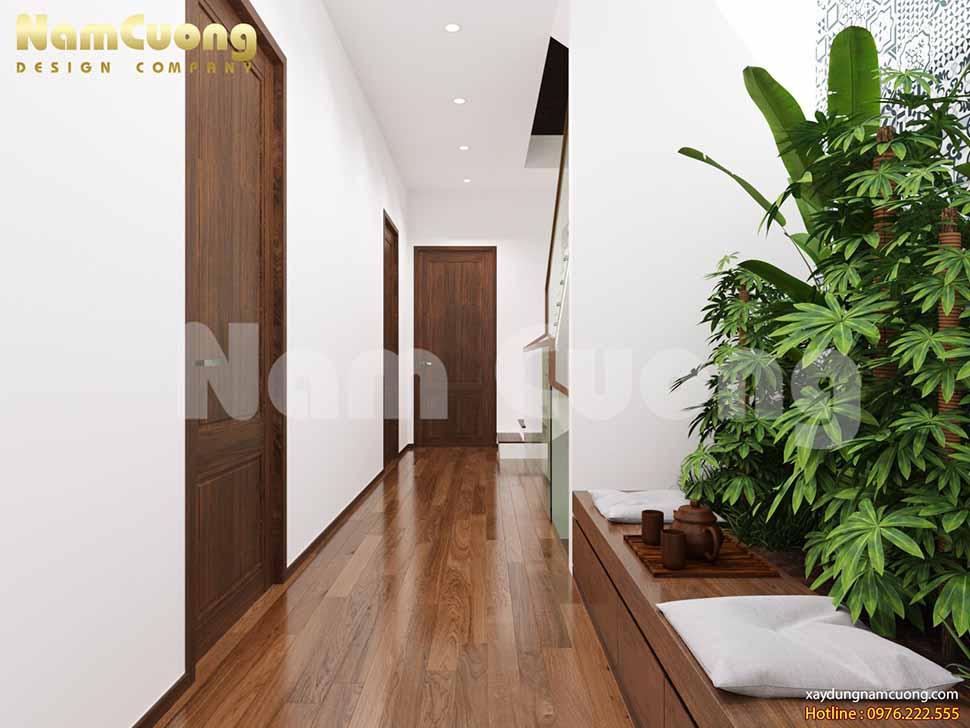 hành lang tầng 2 nội thất vân gỗ đẹp