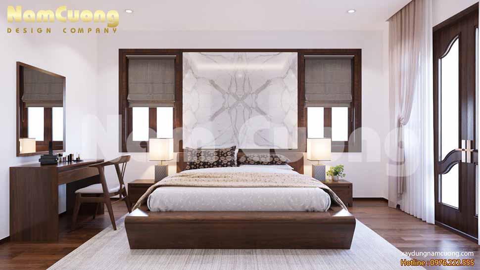 một phòng ngủ sang trọng sử dụng gỗ tự nhiên