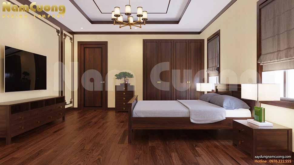 không gian phòng ngủ gỗ tự nhiên