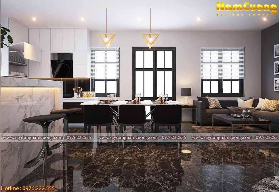 phòng khách và bếp kiền kề
