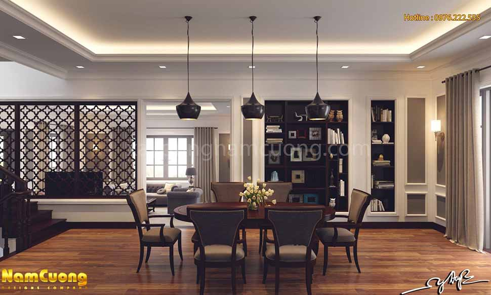 khu bàn ăn trong nhà
