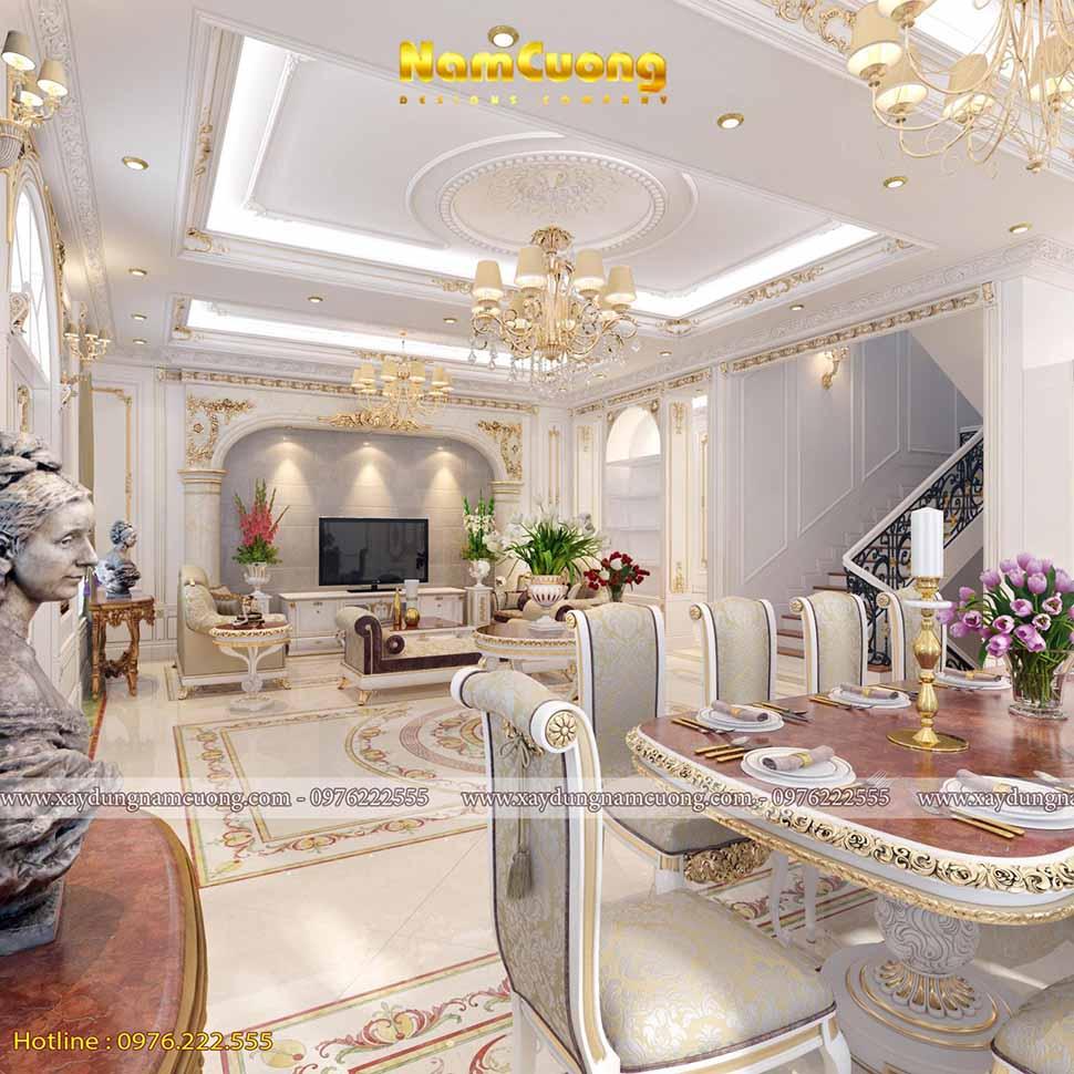 phòng bếp ăn của ngôi biệt thự