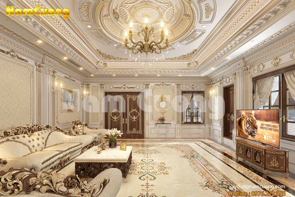 phòng khách đẳng cấp của biệt thự