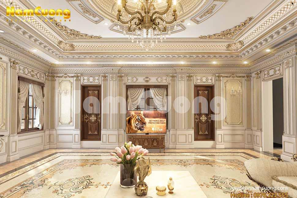 nội thất phòng khách đẳng cấp lâu đài