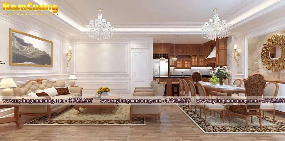phòng khách và bếp ăn