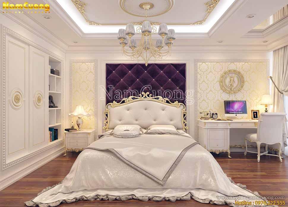 Phòng ngủ nội thất 2 gam màu sắc trắng và tím vô cùng ngọt ngào
