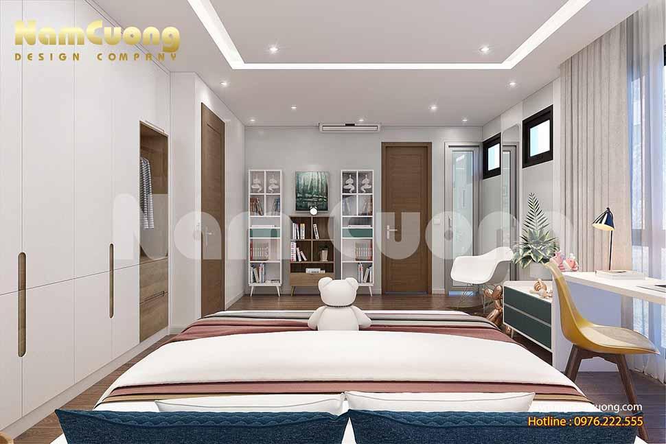 thiết kế phòng ngủ hiện đại đơn giản bé gái